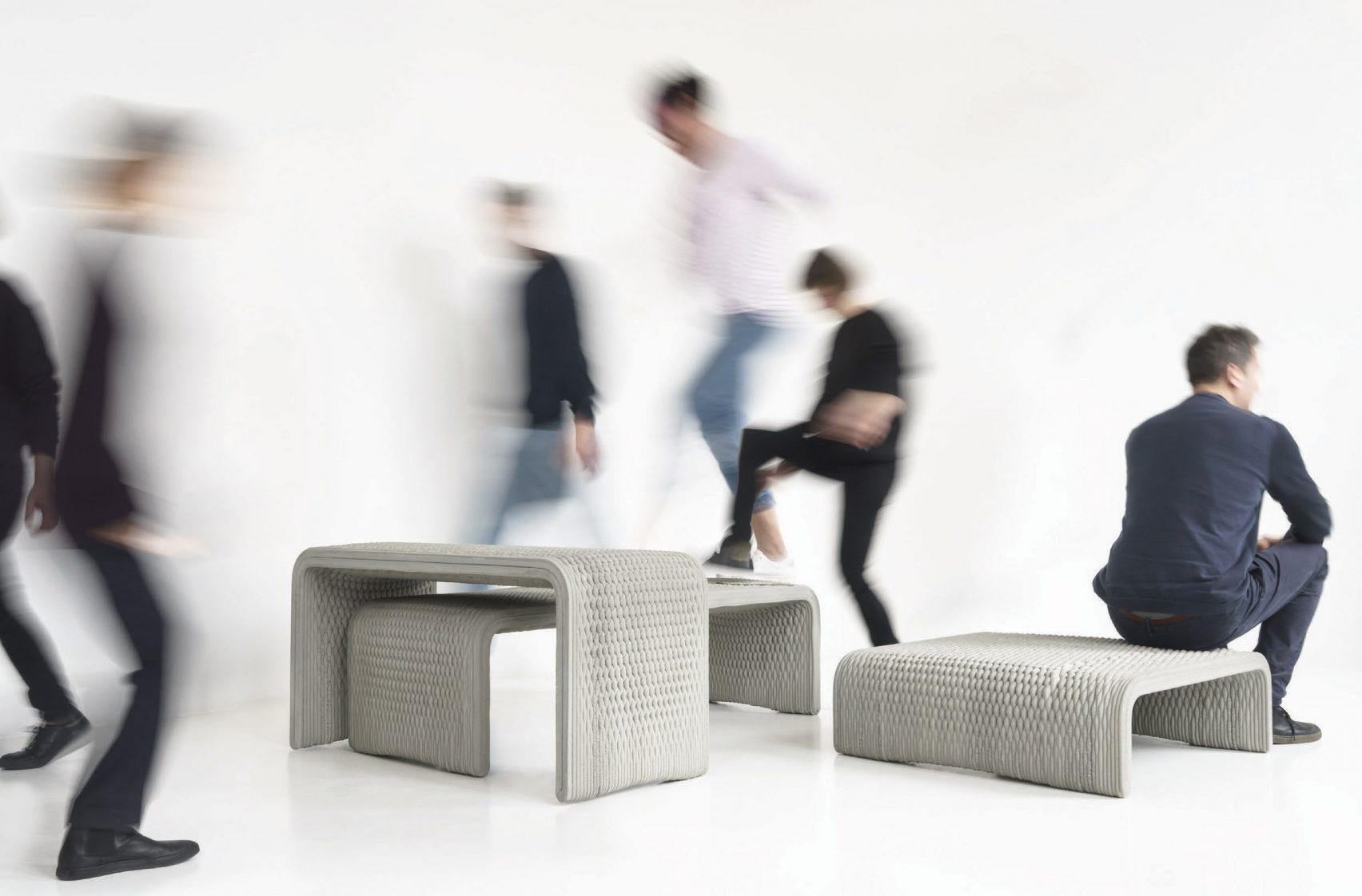 3D printed concrete benches resemble woven textiles