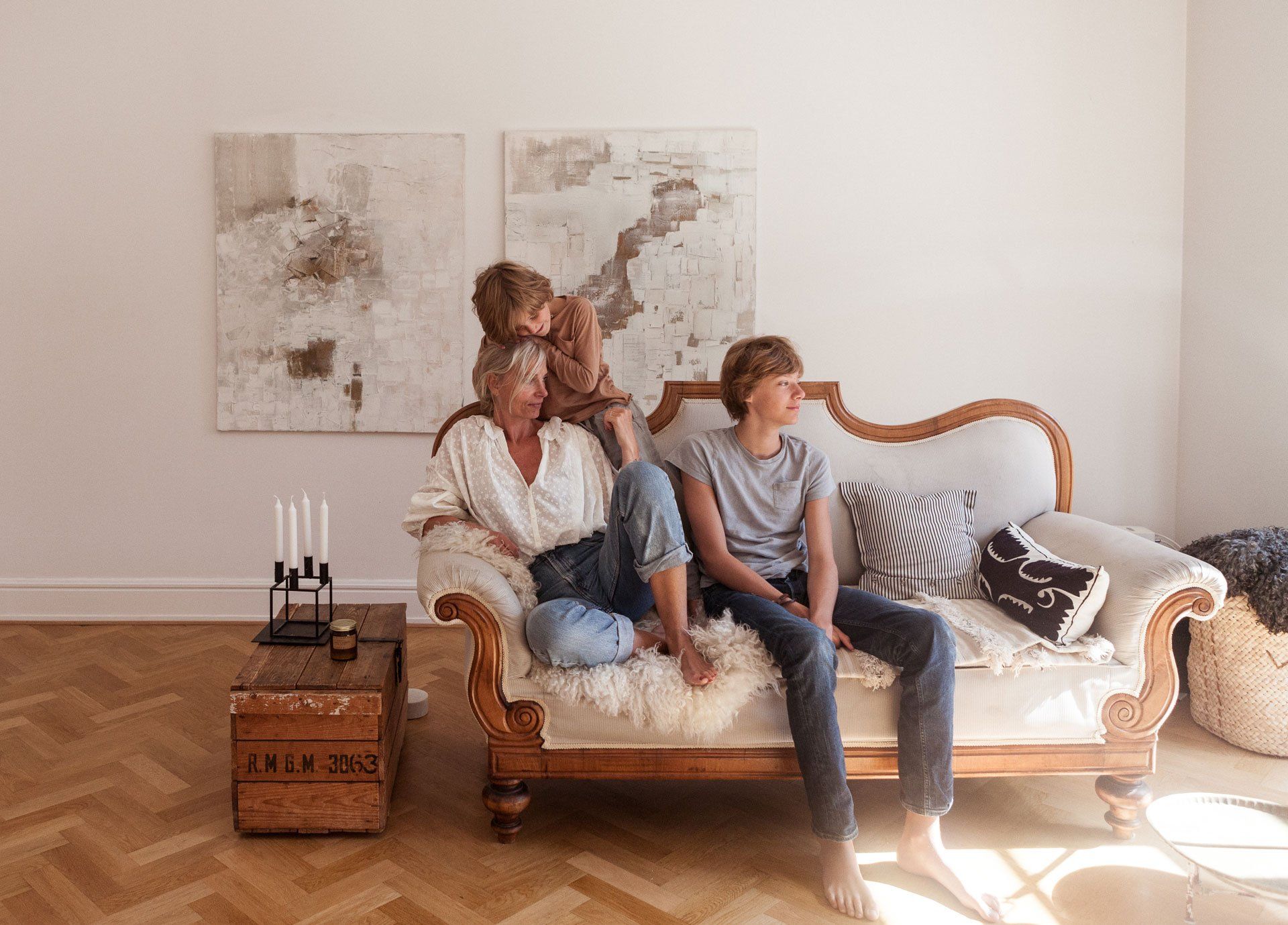 Irene de Klerk Wolters at home with her family