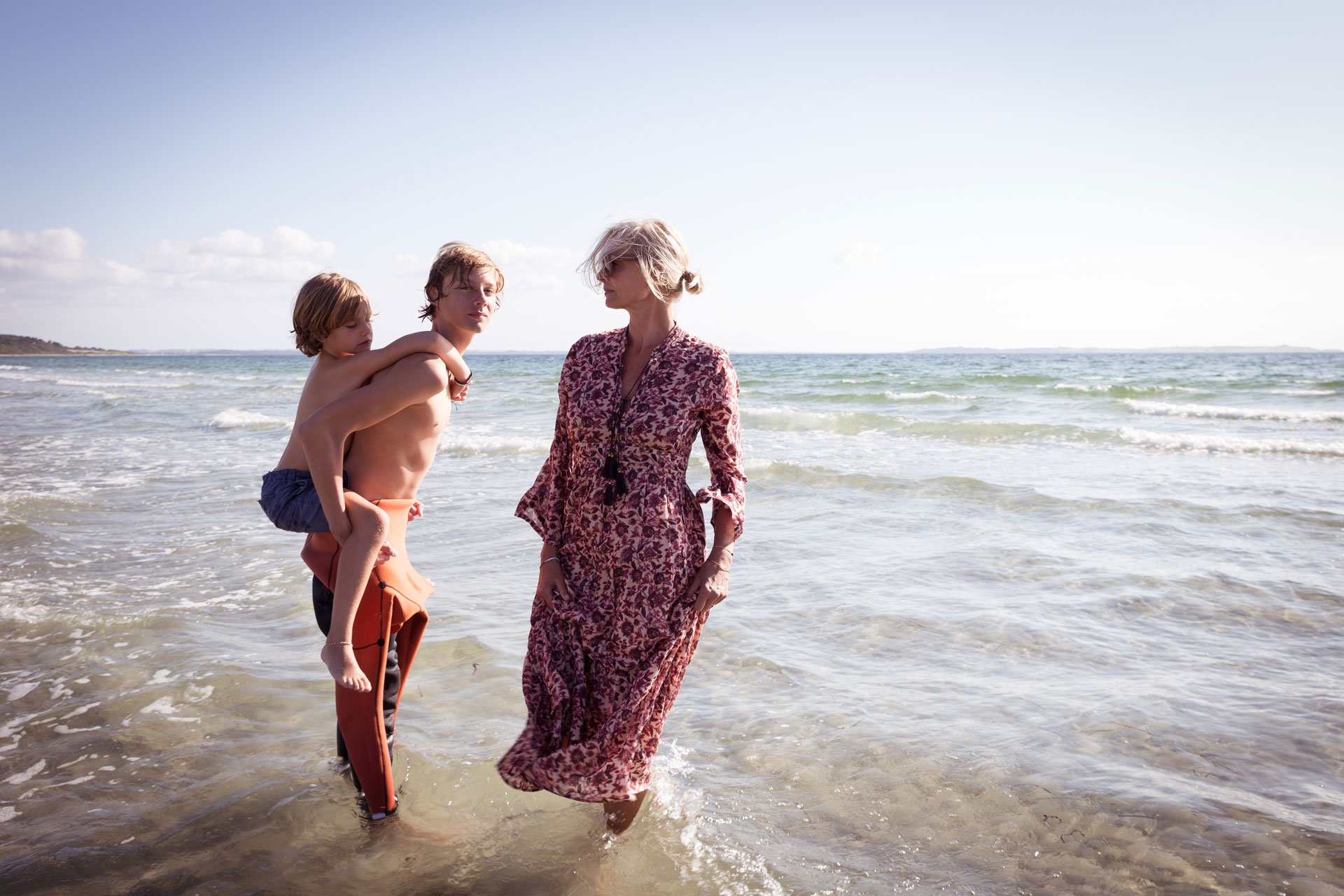 Irene de Klerk Wolters in the sea with her family