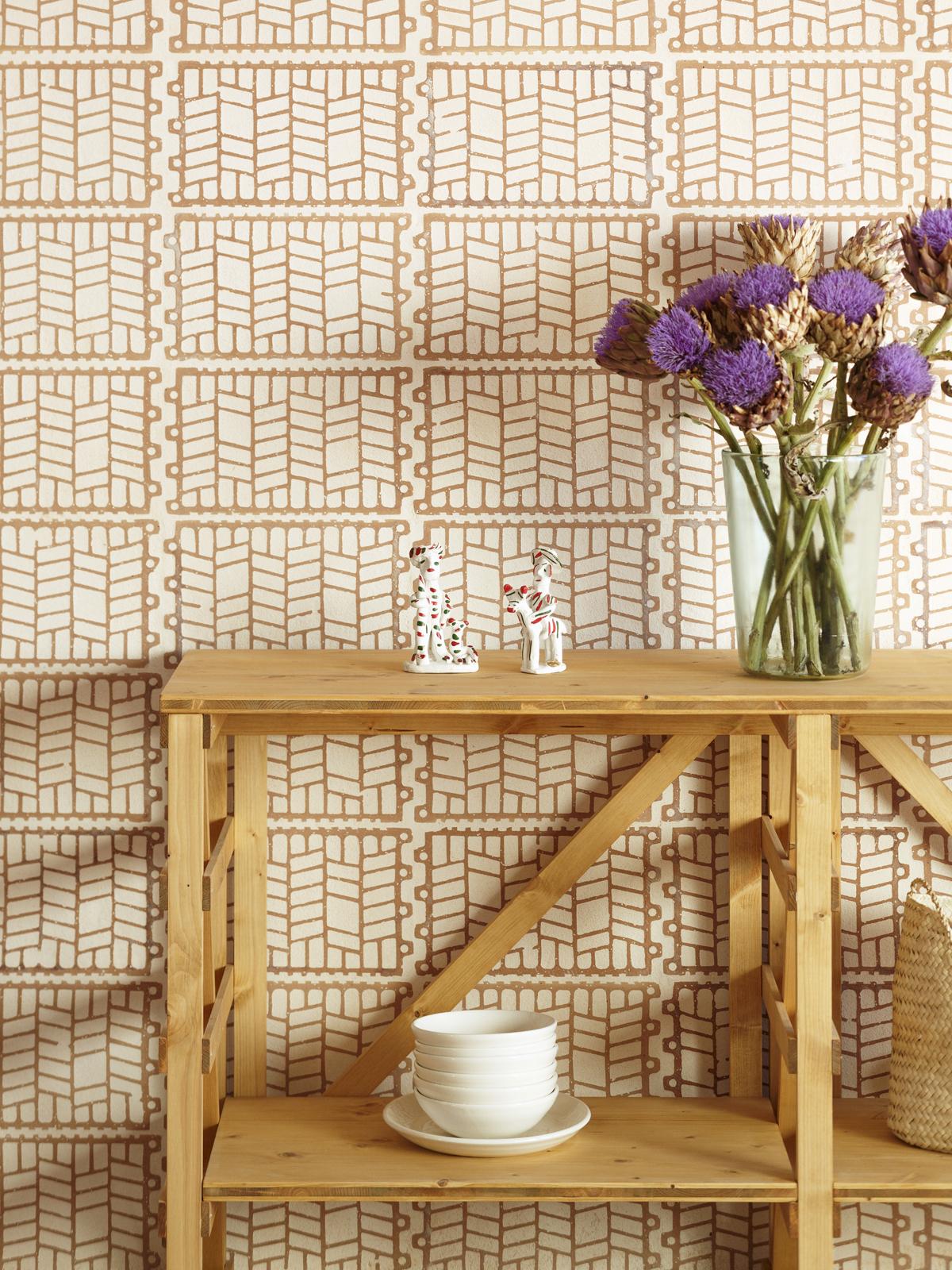 Plaster filled terracotta tiles in the home
