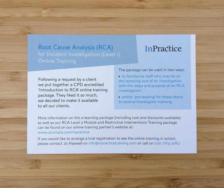 InPractice A6 flyer design