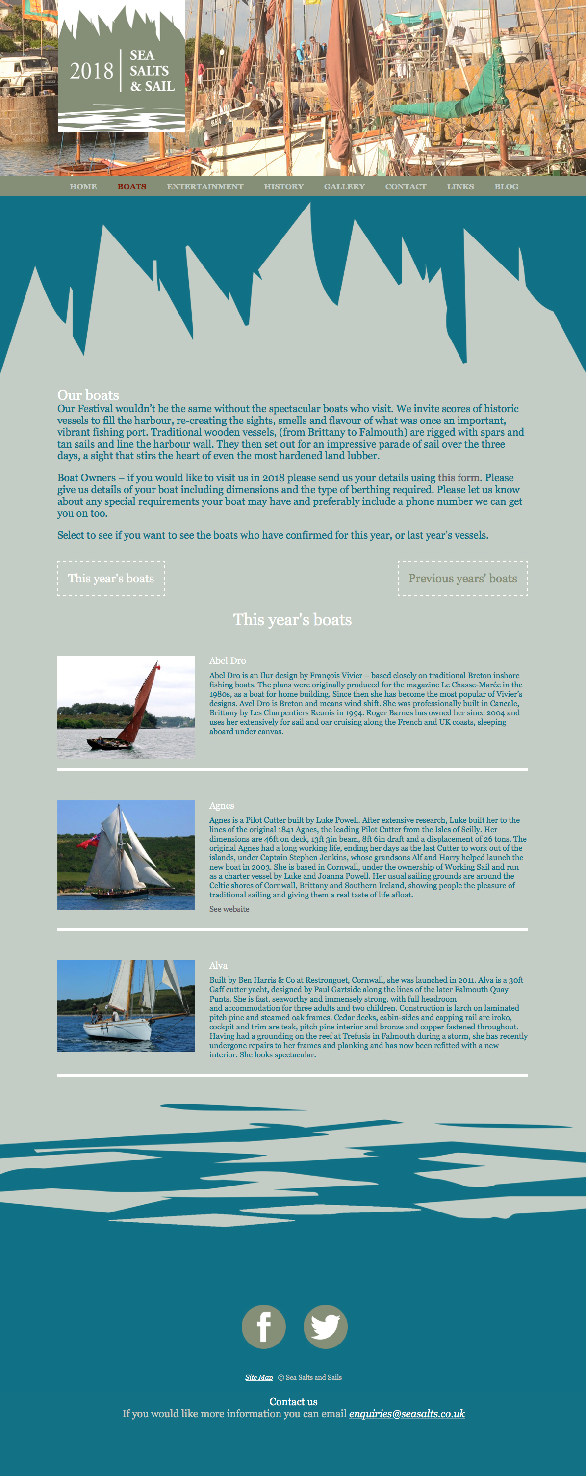 The Boats page from the website Pickle Design created for Mousehole festival Sea Salts and Sails