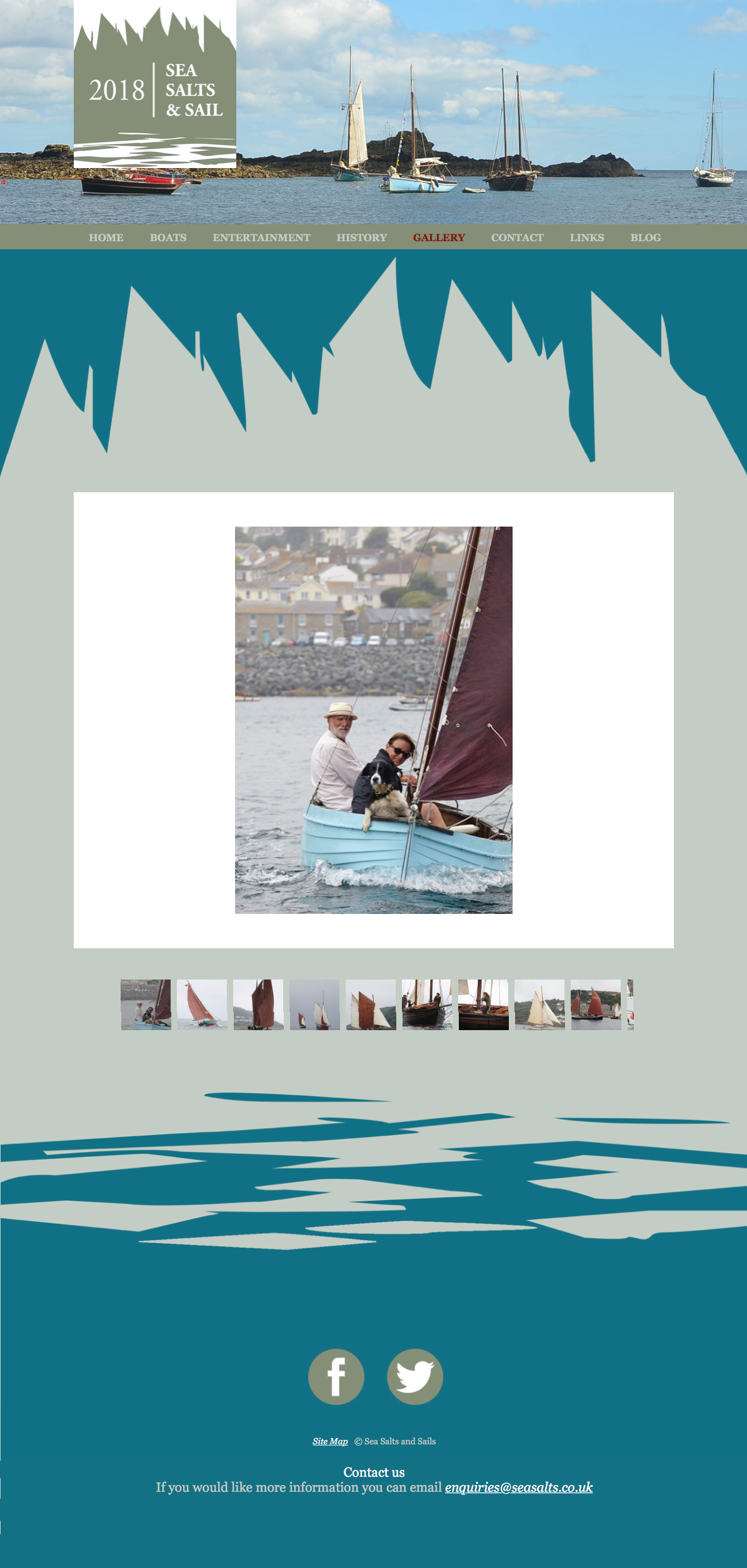 The Gallery page from the website Pickle Design created for Mousehole festival Sea Salts and Sails