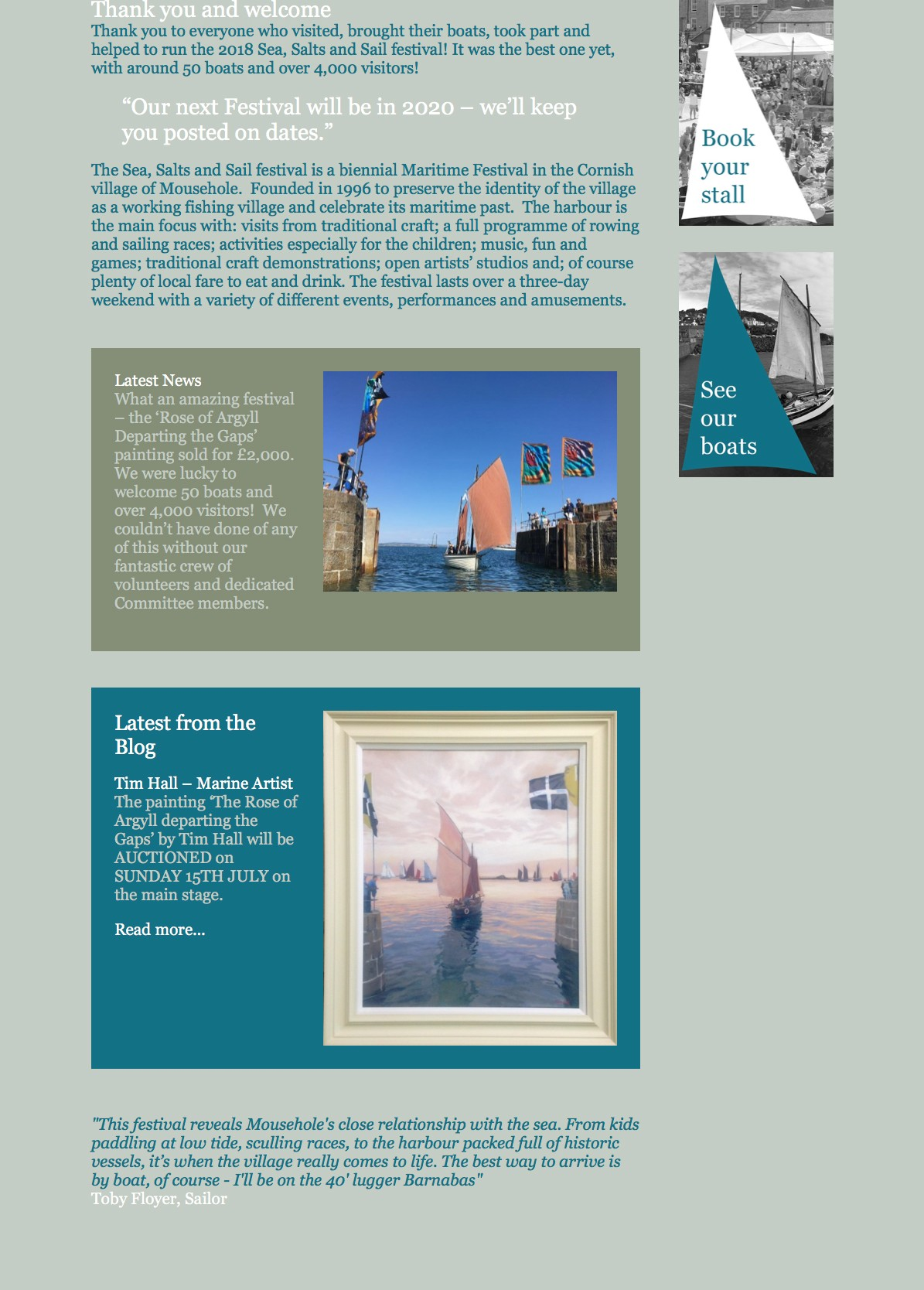 The Home page Pickle Design created for Mousehole festival Sea Salts and Sails
