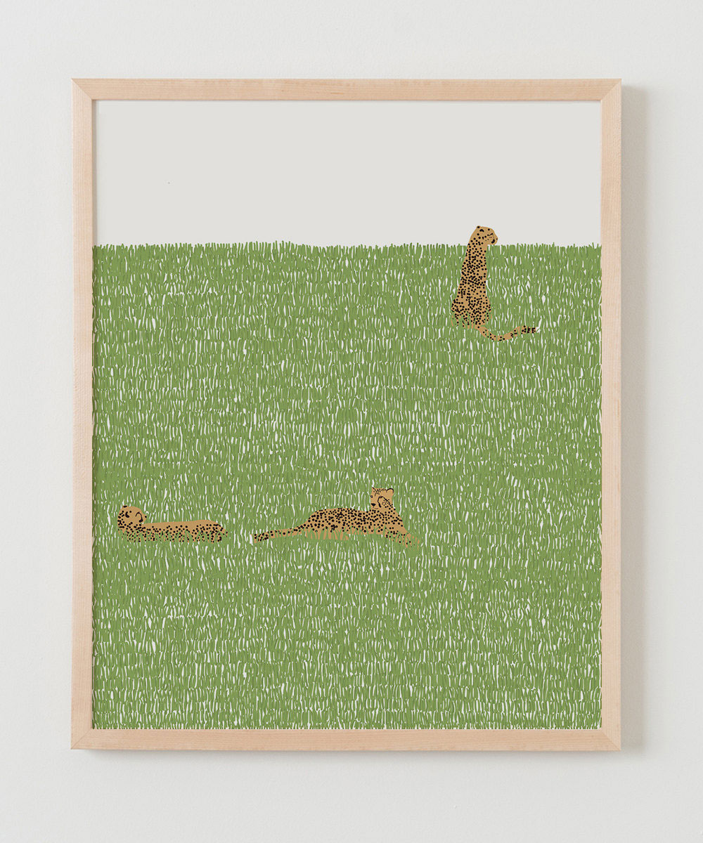 Leopards in the grass, a painting by Jorey Hurley