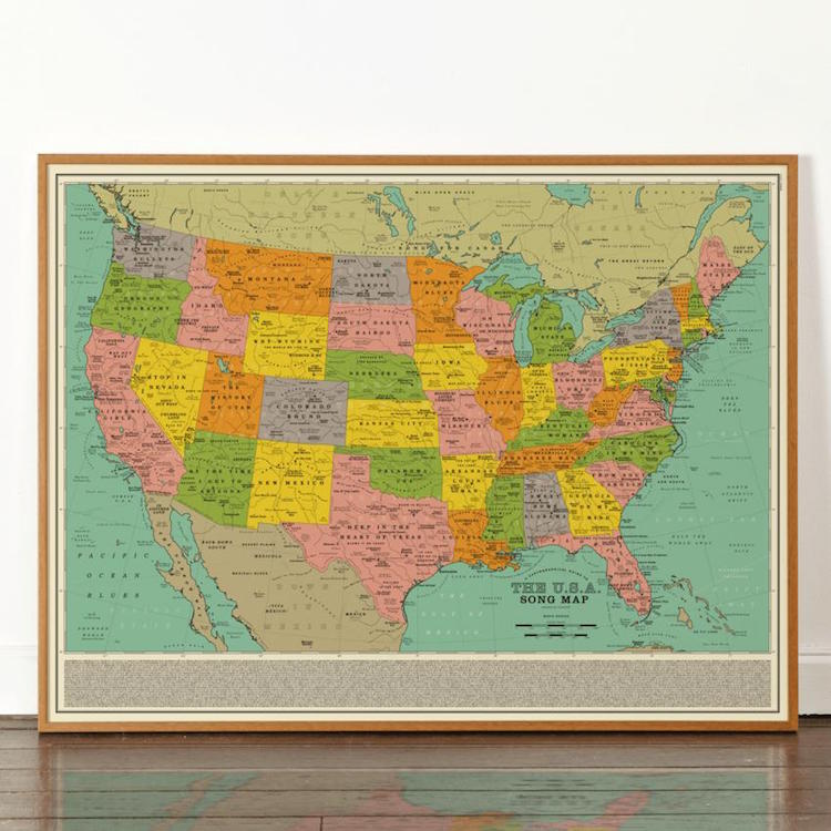 Map of America through song titles