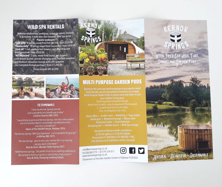 Leaflet design for eco hot tubs from Kernow Springs