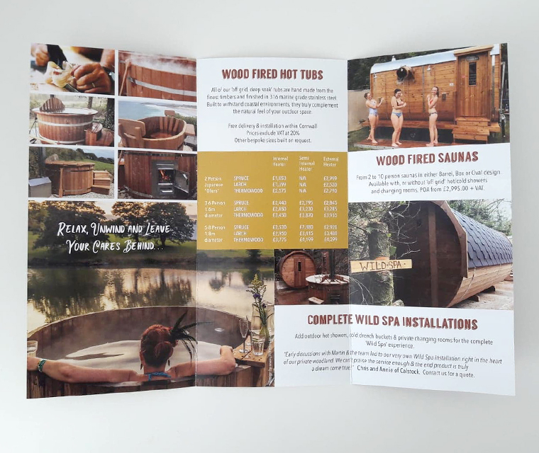 Leaflet design for eco hot tubs from Kernow Springs
