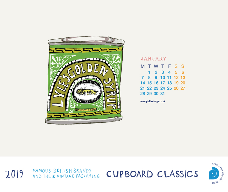 Download our January vintage food packaging calendar of Lyle and Son's golden syrup for free for your mobile, tablet and desktop computer background.