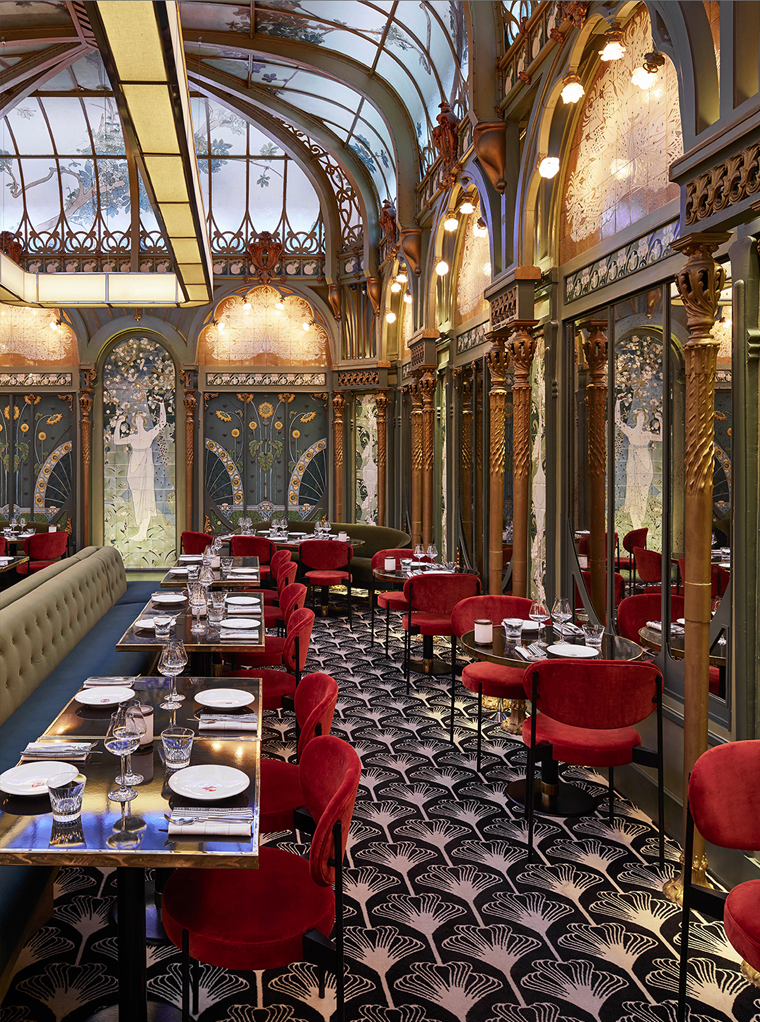 Lush interior of art nouveau restaurant in Paris