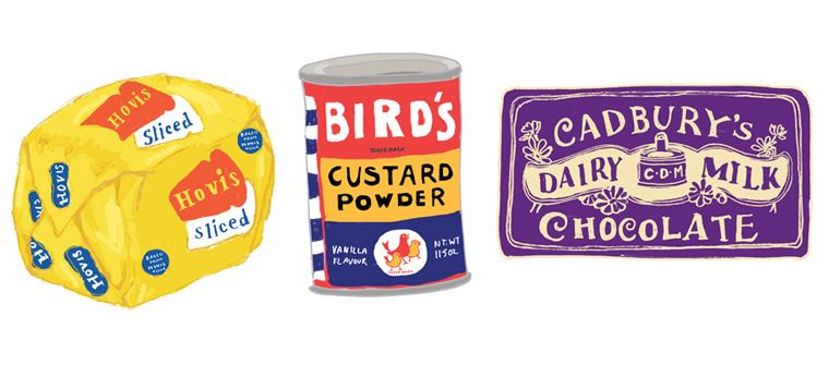 Vintage packaging illustrated of Hovis, Bird's Custard and Cadbury Dairy Milk