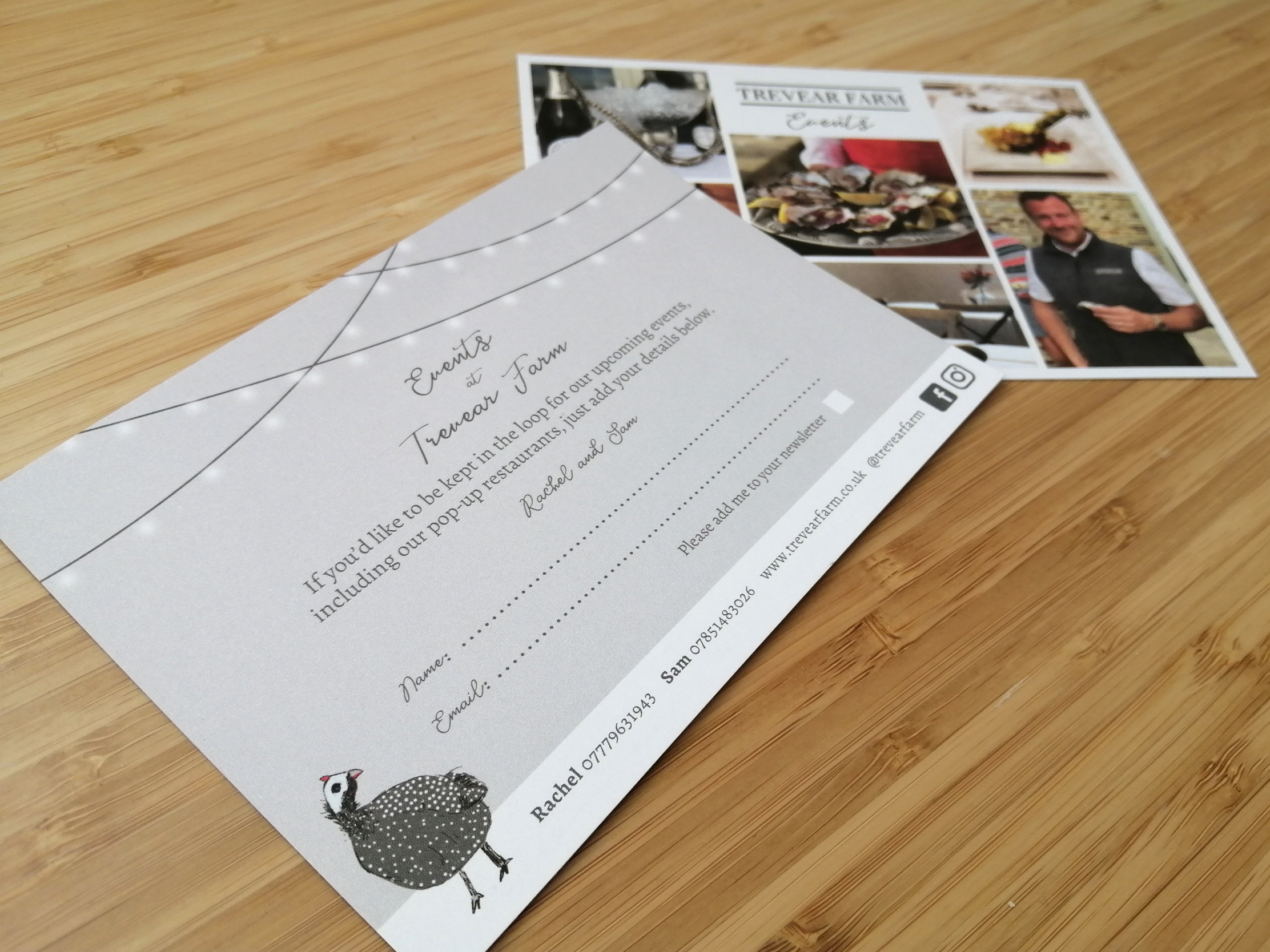 Uncoated A6 flyer for Trevear Farm holiday cottages