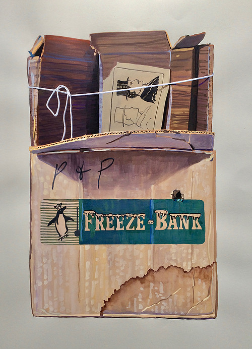 Painting of a cardboard box holding family memories