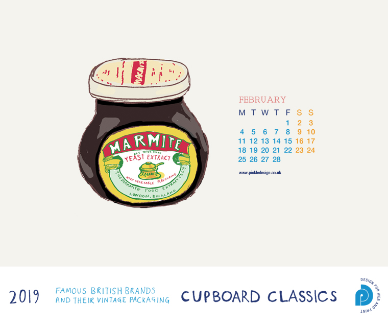 Download our February vintage food packaging calendar of Marmite for free for your mobile, tablet and desktop computer background.