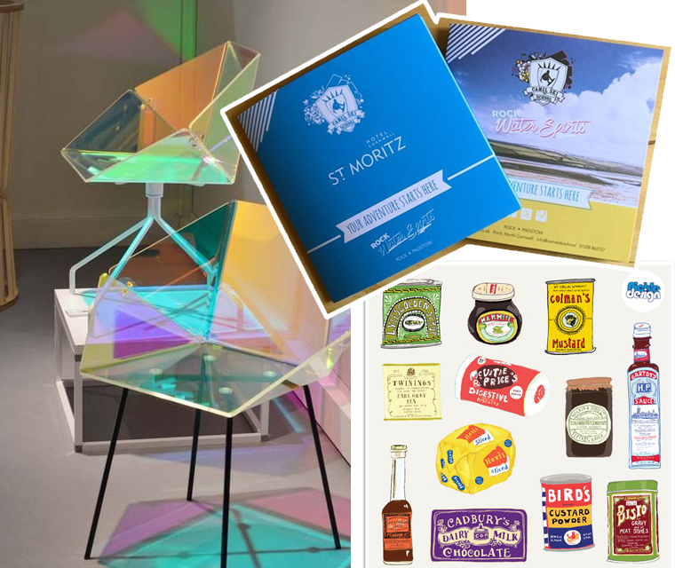 In this month's newsletter chair design, brochure design and vintage packaging illustration