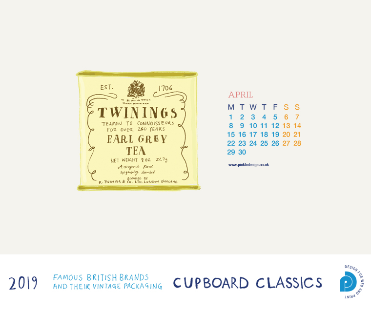 Download our April vintage food packaging calendar of Twinings Earl Grey Tea for free for your mobile, tablet and desktop computer background