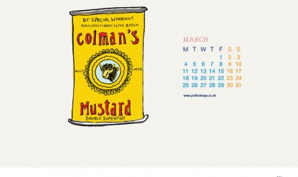 Download our March vintage food packaging calendar of Colman's Mustard for free for your mobile, tablet and desktop computer background