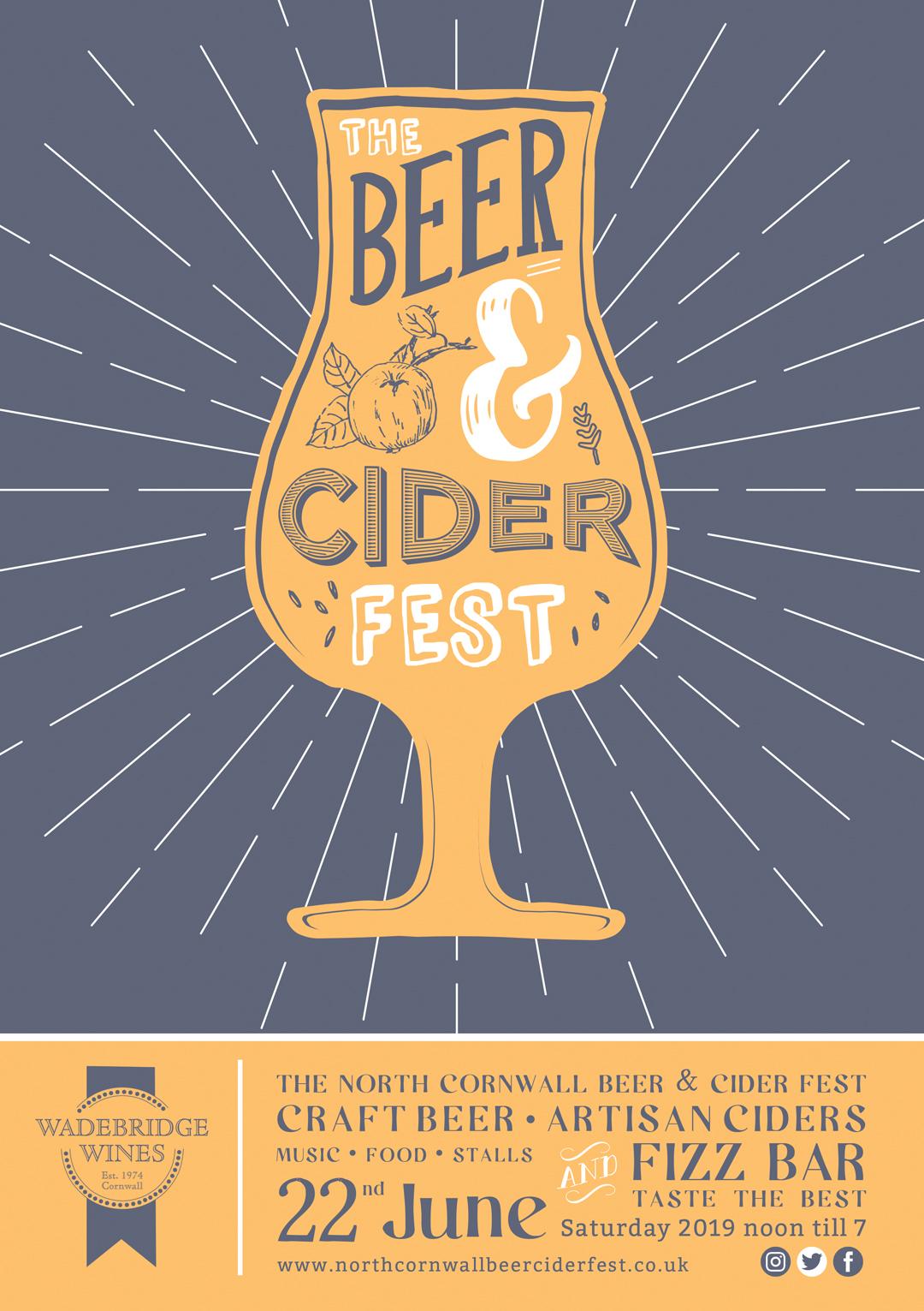 Poster design for the Wadebridge Wines Beer and Cider festival
