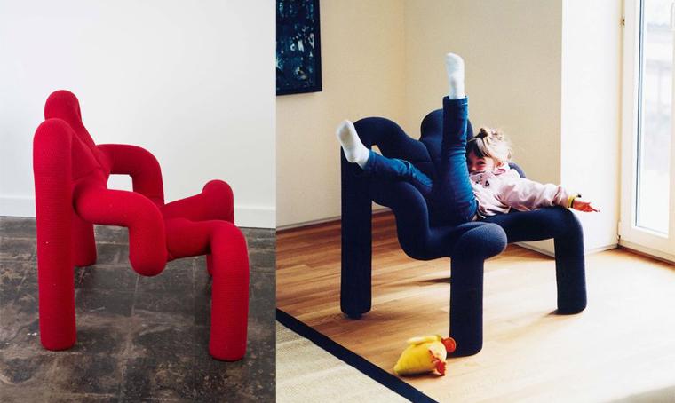 Kids crawling over 80s ergonomic chair