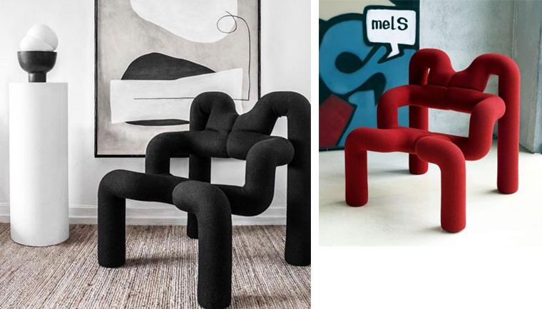 Two contrasting interiors with Ekstrem chair