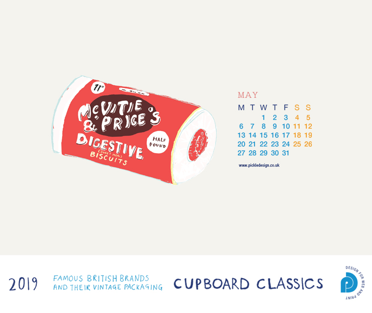 Download our May vintage food packaging calendar of McVitie's Digestive Biscuits for free for your mobile, tablet and desktop computer background