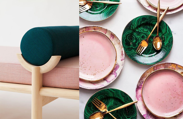 Furniture and ceramics in deep green and pale pink