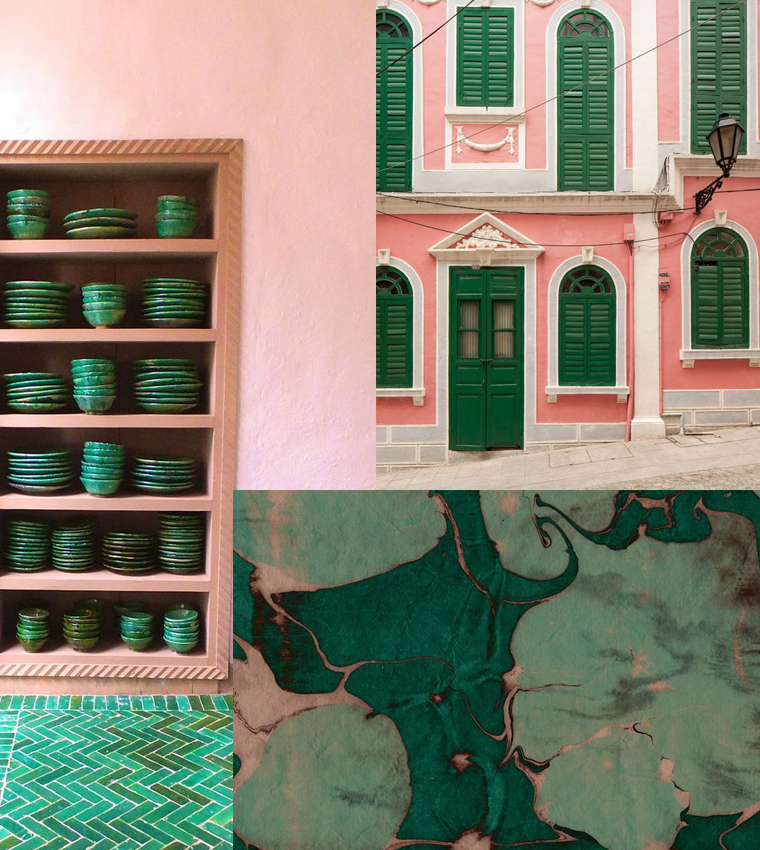 Ceramics, architecture and marble pattern in pink and green