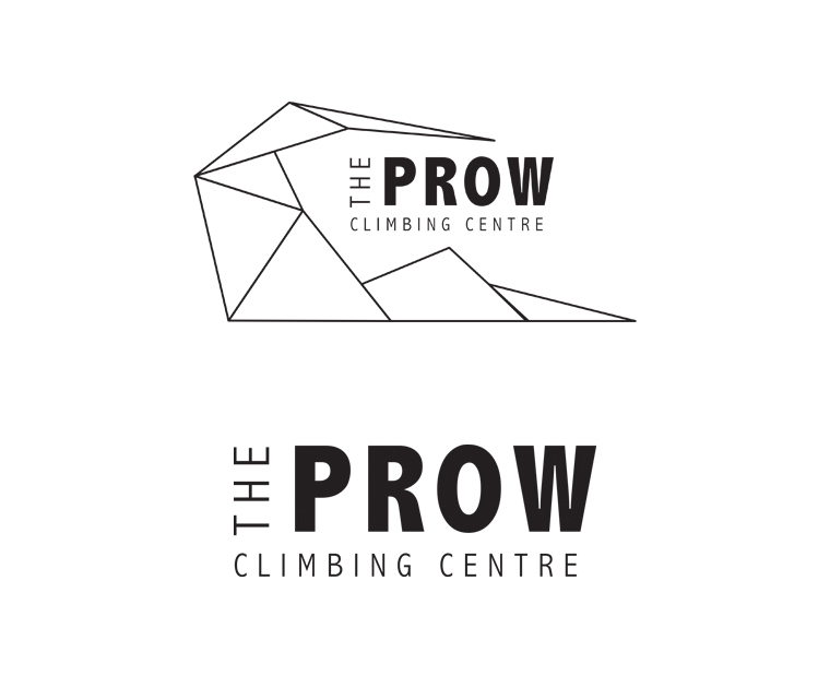 Black and white versions of the new The Prow Climbing Centre logo