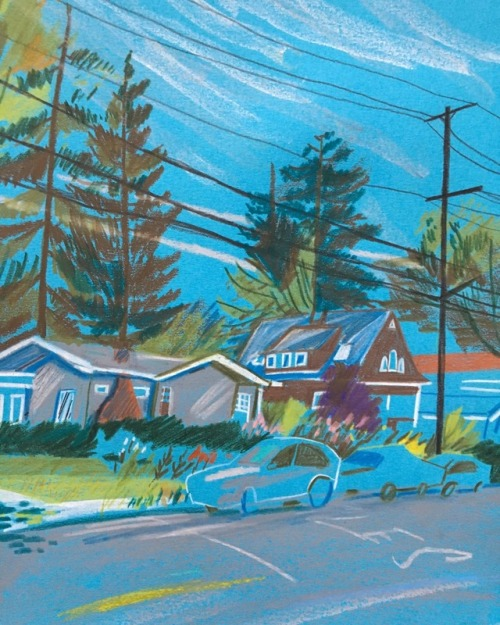 Blue suburb scene by artist Joey Yu