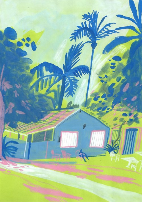 Tropical house depicted by illustrator Joey You