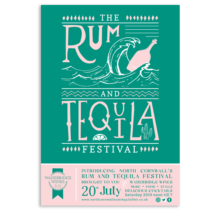 Tequila and Rum festival poster in pink and green