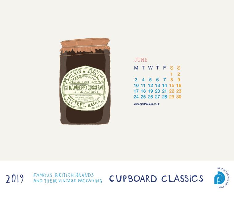Download our June vintage food packaging calendar of Tiptree's Strawberry Jam for free for your mobile, tablet and desktop computer background