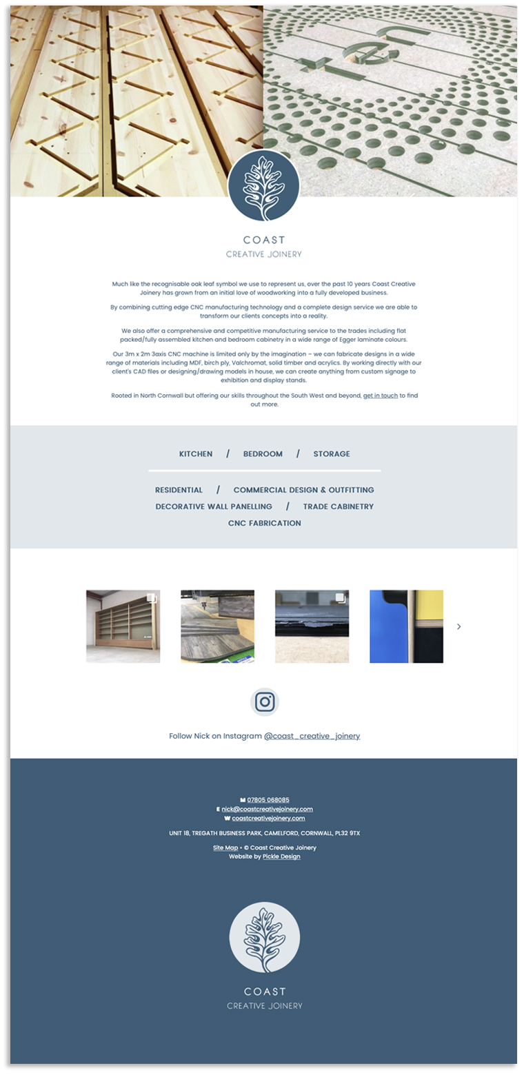 One page website for Coast Creative Joinery