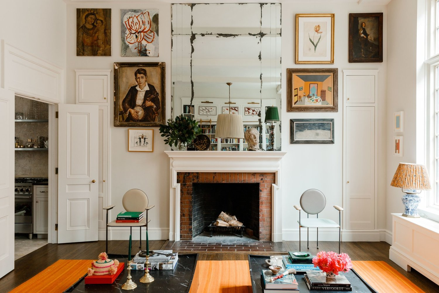 Eclectic fireplace wall