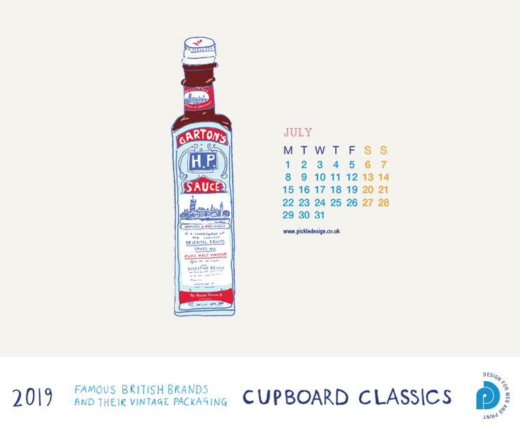 Download our July vintage food packaging calendar of HP Sauce for free for your mobile, tablet and desktop computer background