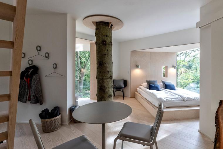 Minimal Danish interior in a tree house hotel