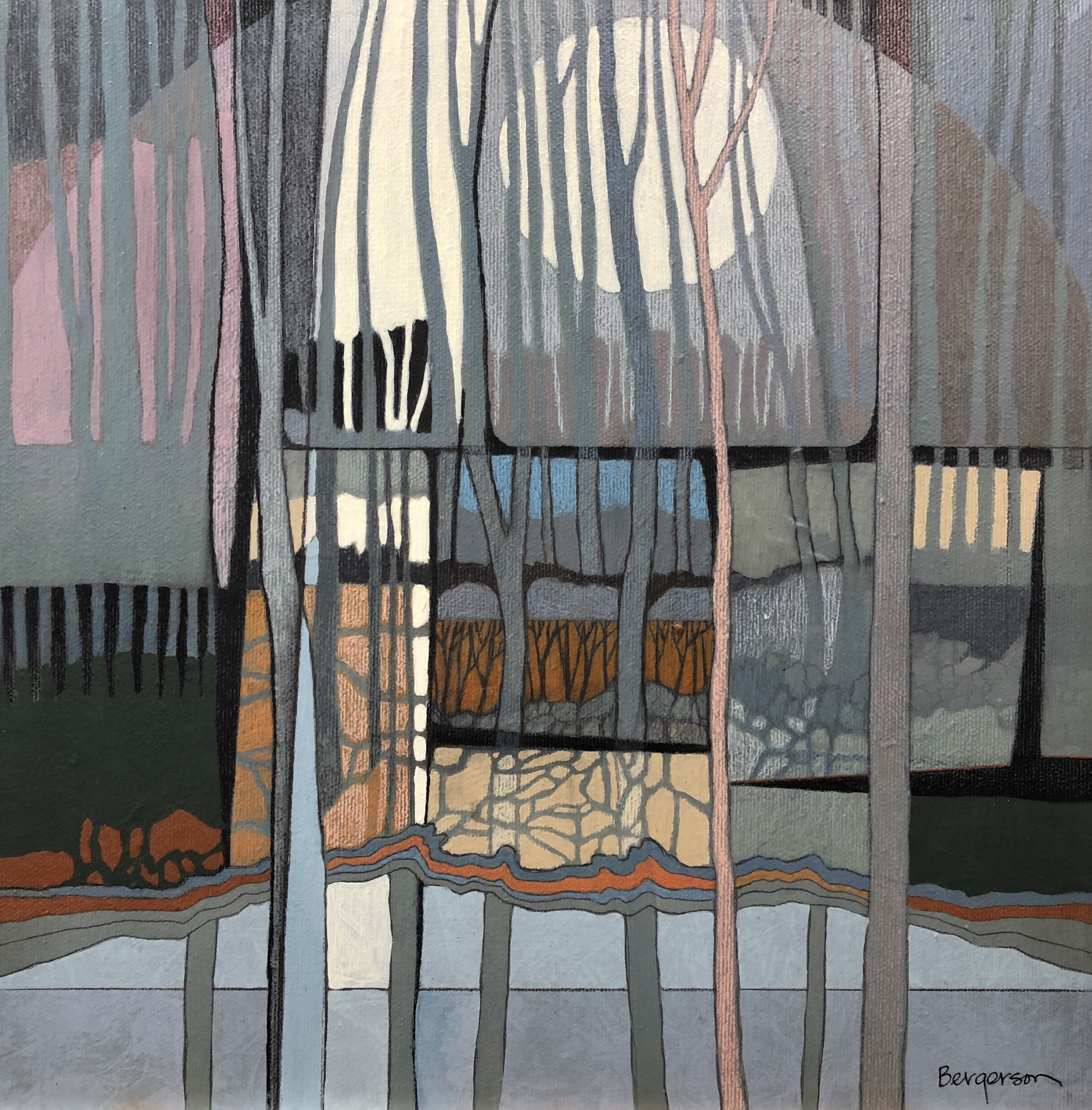 Trees and moon painted by Judith Bergerson