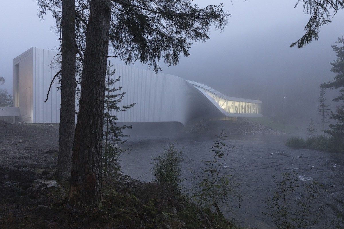 Sculpture bridge doubles as a museum twisting across the waters in Norway