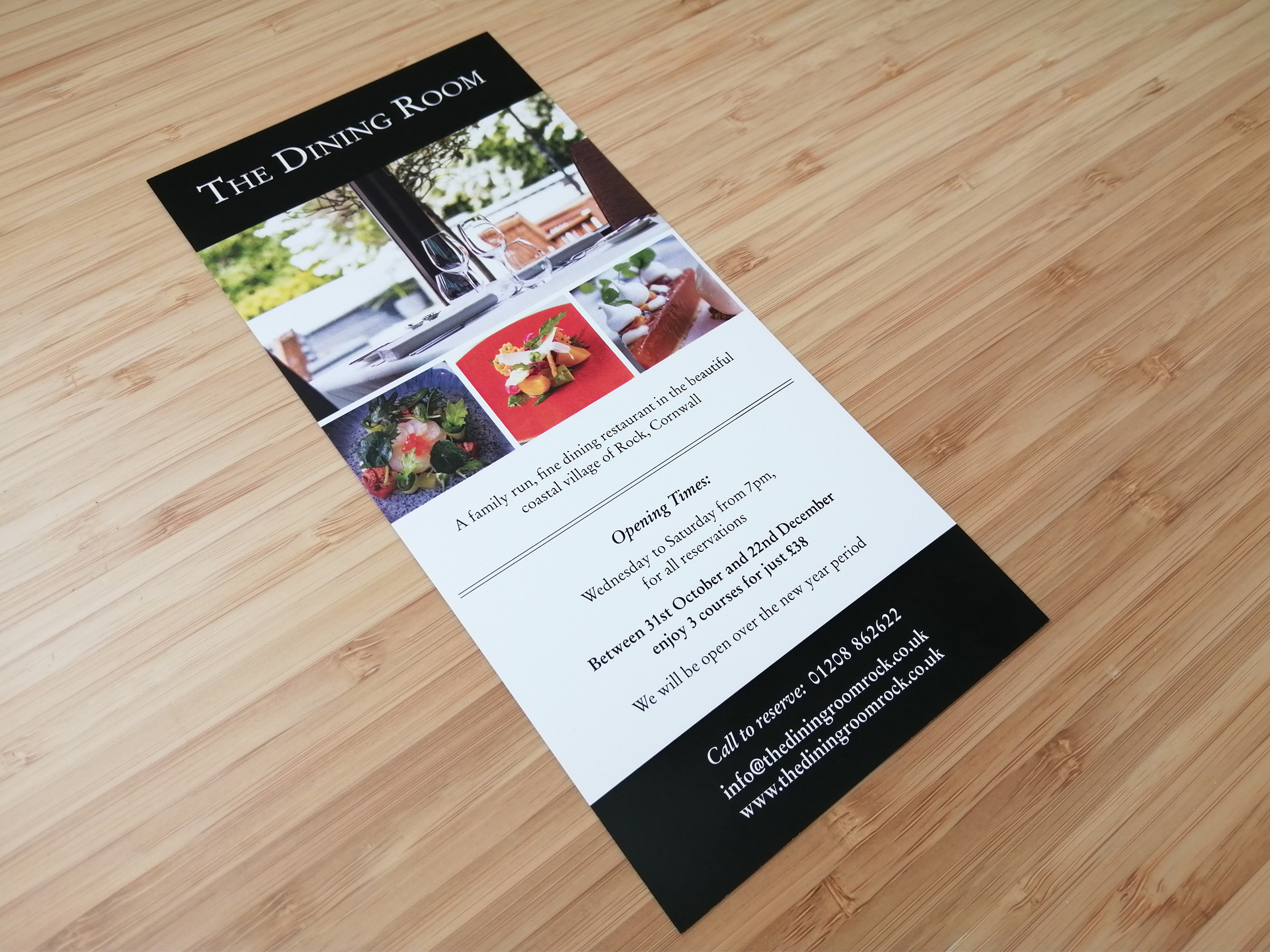 Single sided DL leaflet for The Dining Room in Rock