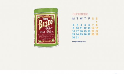 Download our December vintage food packaging calendar of Bisto Gravy for free for your mobile, tablet and desktop computer background
