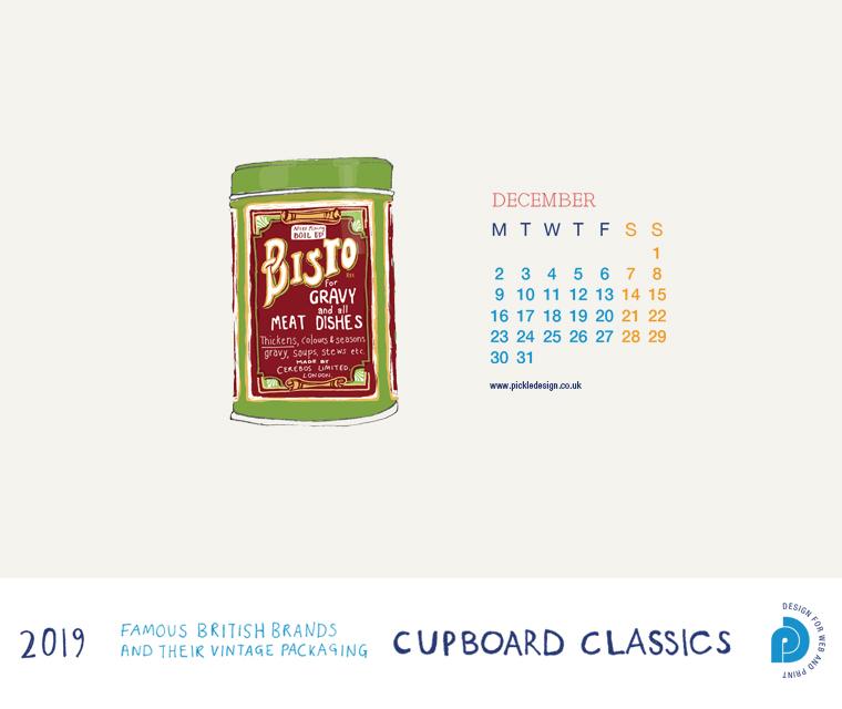 Download our December vintage food packaging calendar of Bisto Gravy for free for your mobile, tablet and desktop computer background