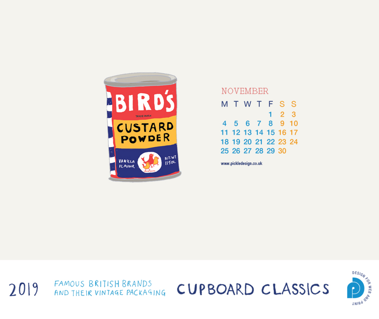 Download our November vintage food packaging calendar of Bird's Custard for free for your mobile, tablet and desktop computer background