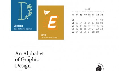 Download the month of February from our Alphabet of Graphic Design calendar for free for your mobile, tablet and desktop computer background