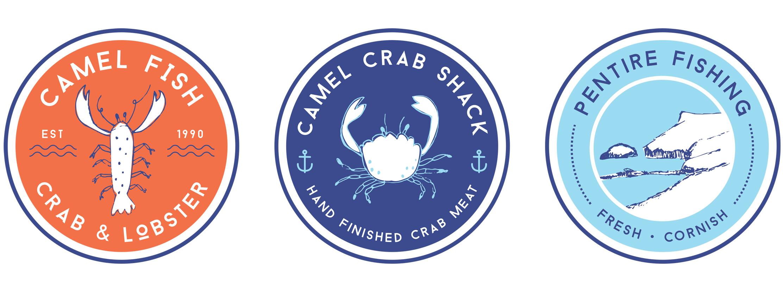 Camel Fish , Camel Crab Shack and Pentire Fishing Logos