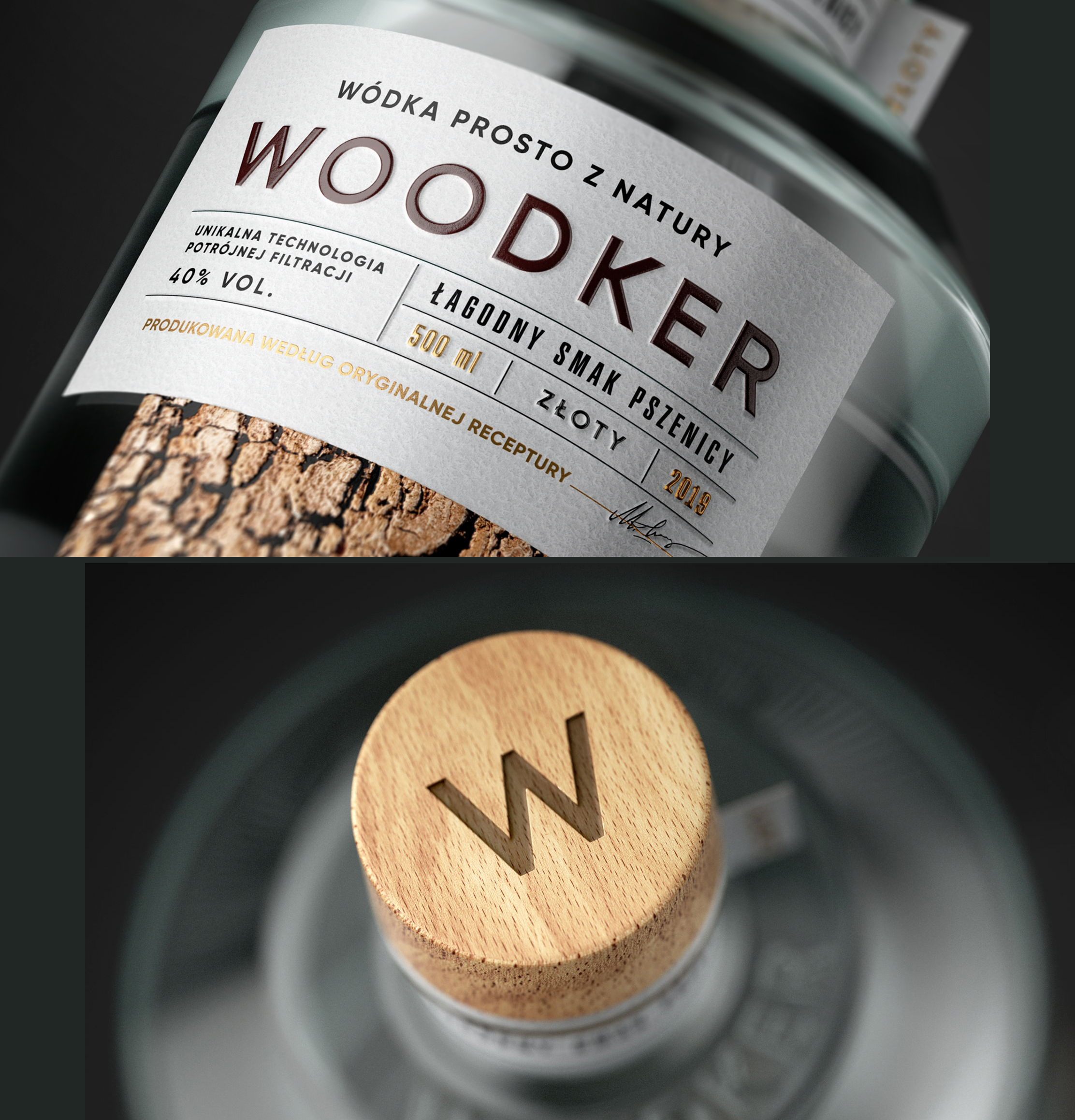 Woodker vodka packaging with bark effect and raised print and wooden lid