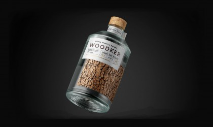 Woodker vodka packaging with bark effect