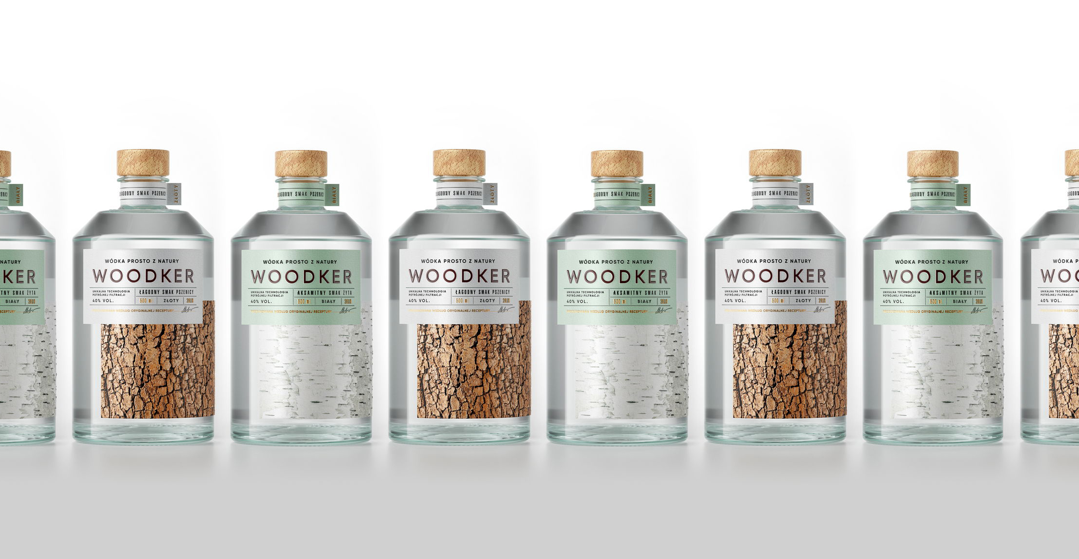 Woodker vodka packaging with bark effect and raised print