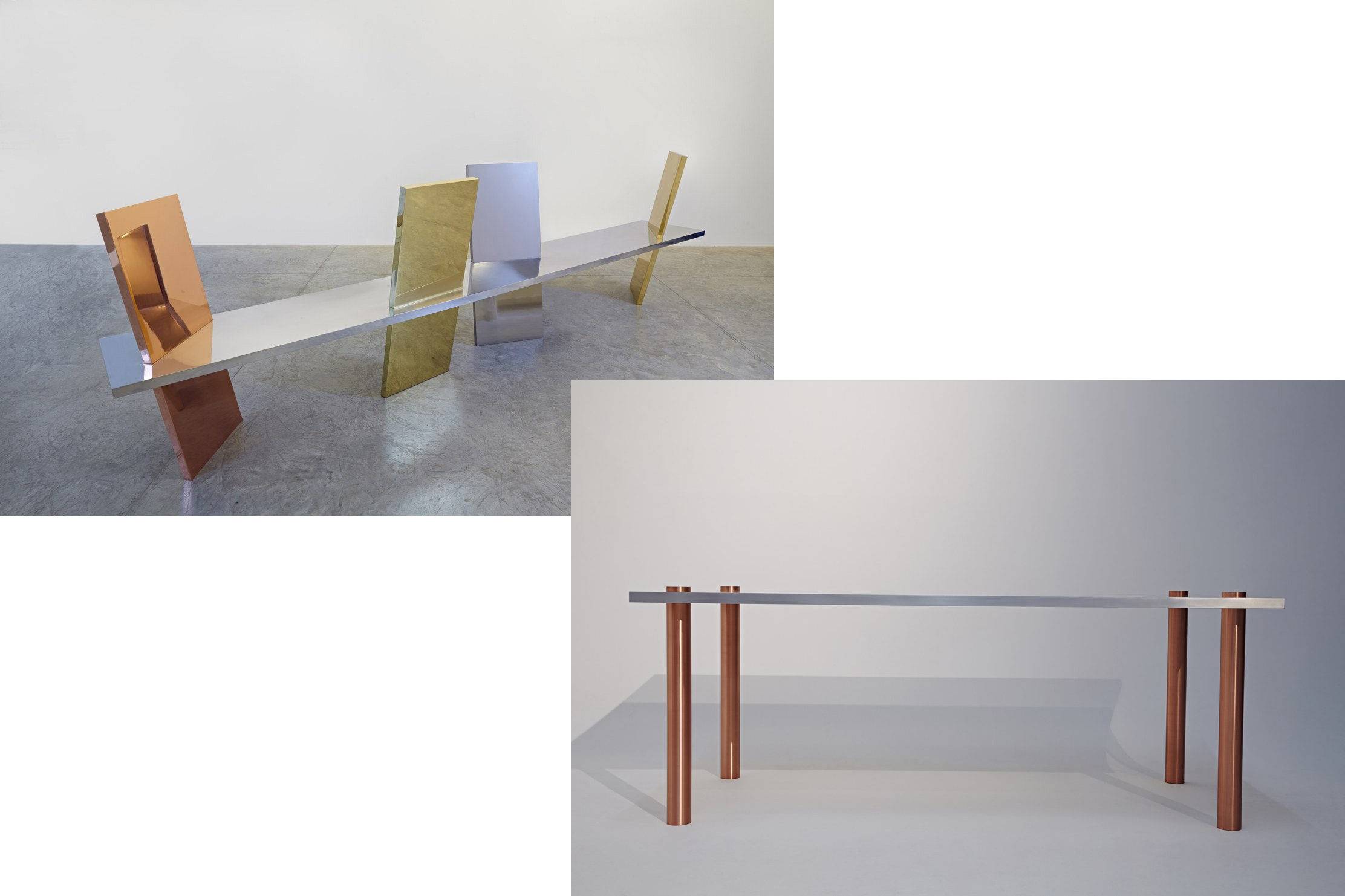 Copper and aluminium bench and table
