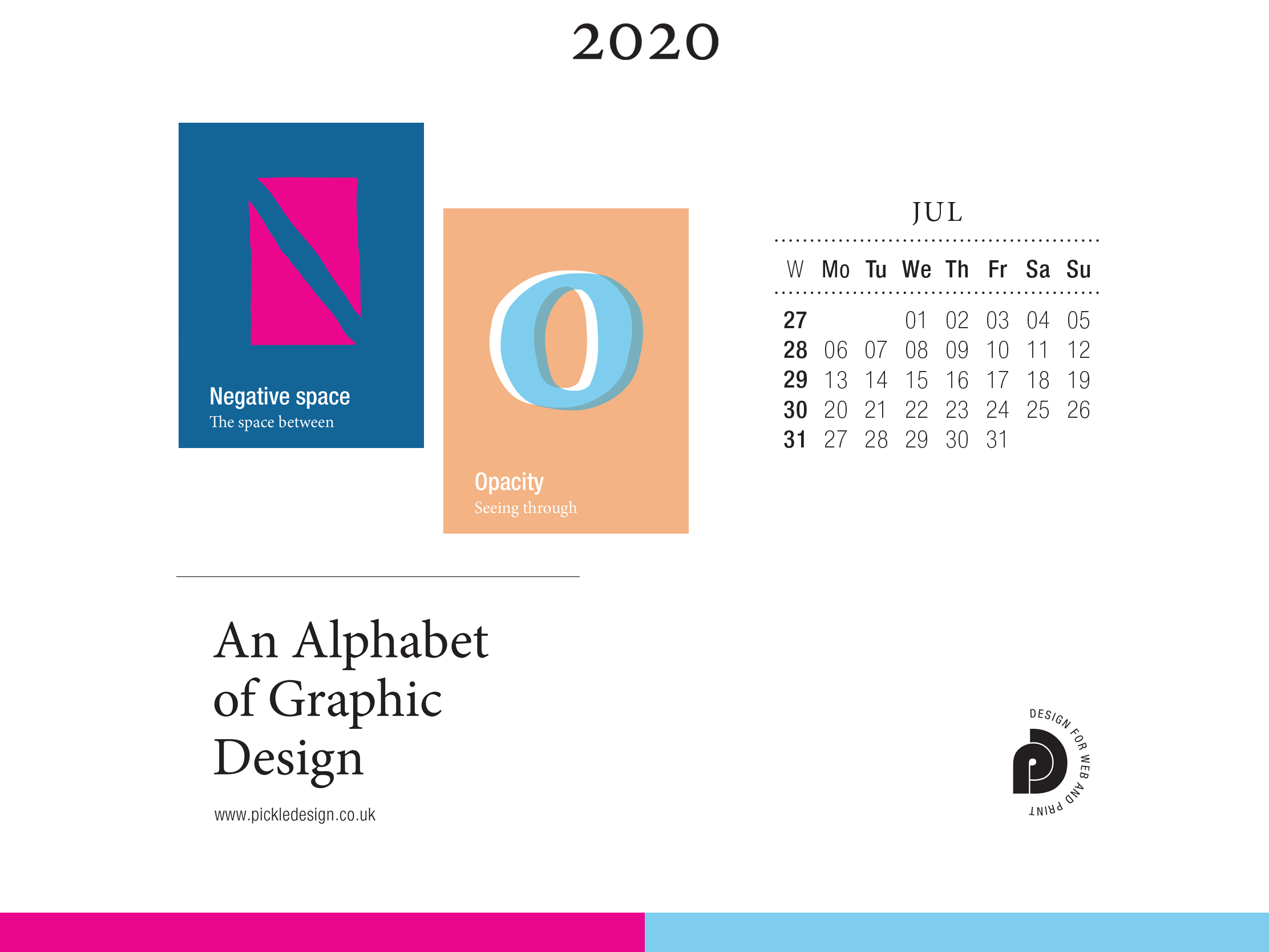 Download the month of July from our Alphabet of Graphic Design calendar for free for your mobile, tablet and desktop computer background