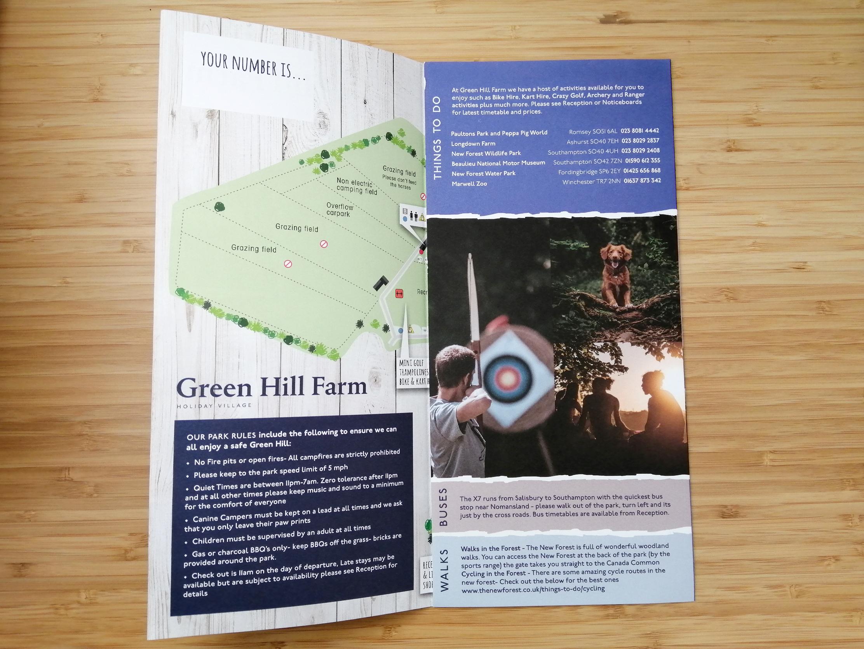 Green Hill Holiday Park welcome leaflet design